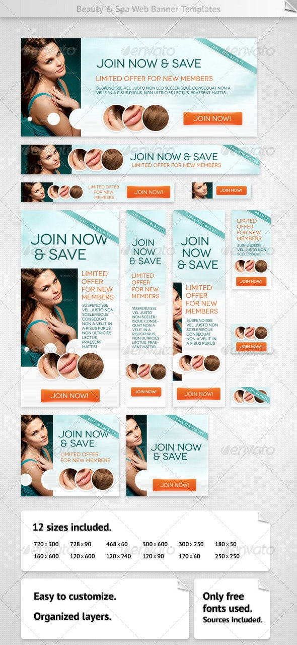 Beauty & Spa Web Banners - Banners & Ads Web Elements