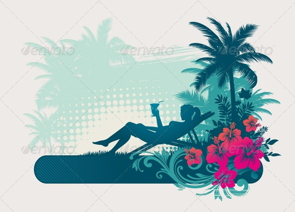 Girl Silhouette on a Tropical Landscape - Travel Conceptual