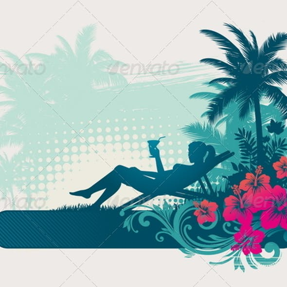 Girl Silhouette on a Tropical Landscape
