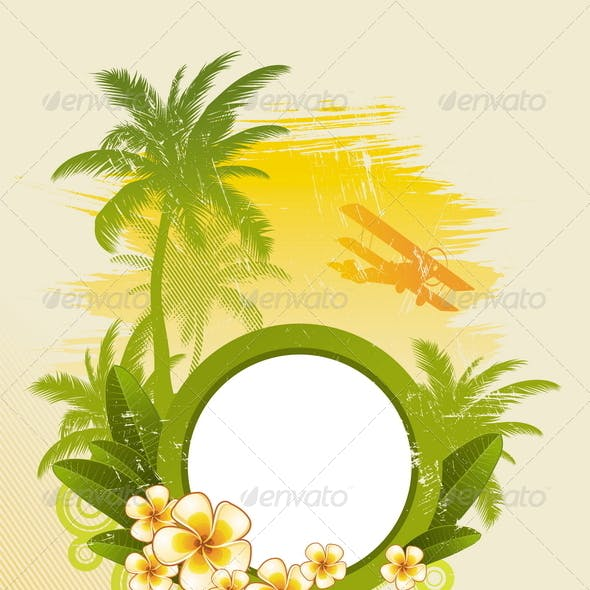 Tropical Design with Round Frame