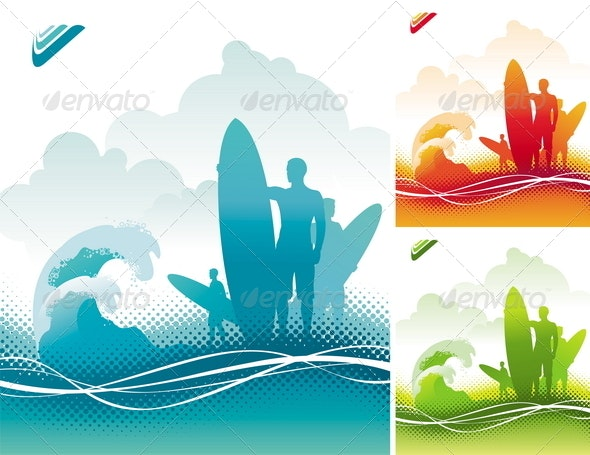 Surfers Team on Ocean Coast - Sports/Activity Conceptual