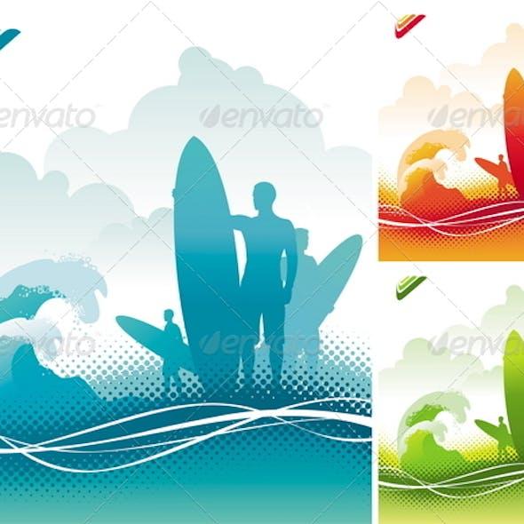 Surfers Team on Ocean Coast