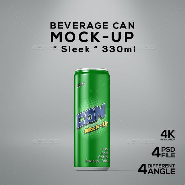 Beverage Can Sleek 330ml Mock-Up
