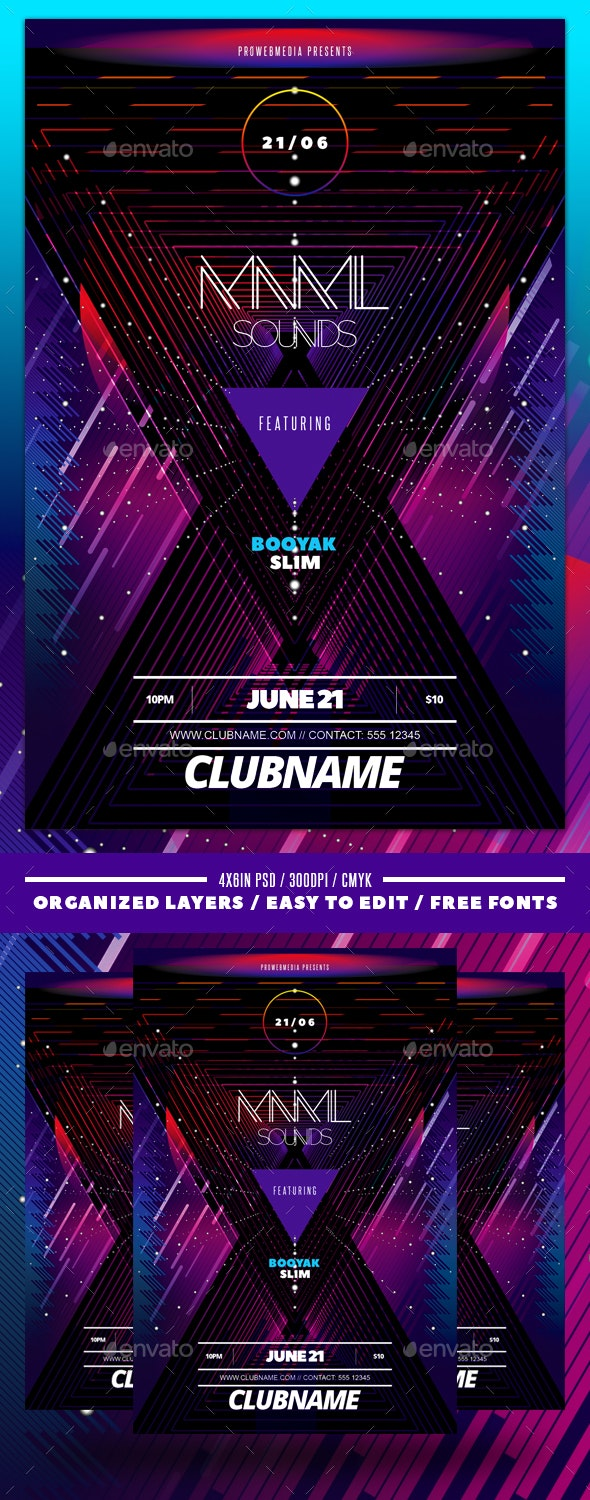 Abstract Neon Flyer Template - Events Flyers