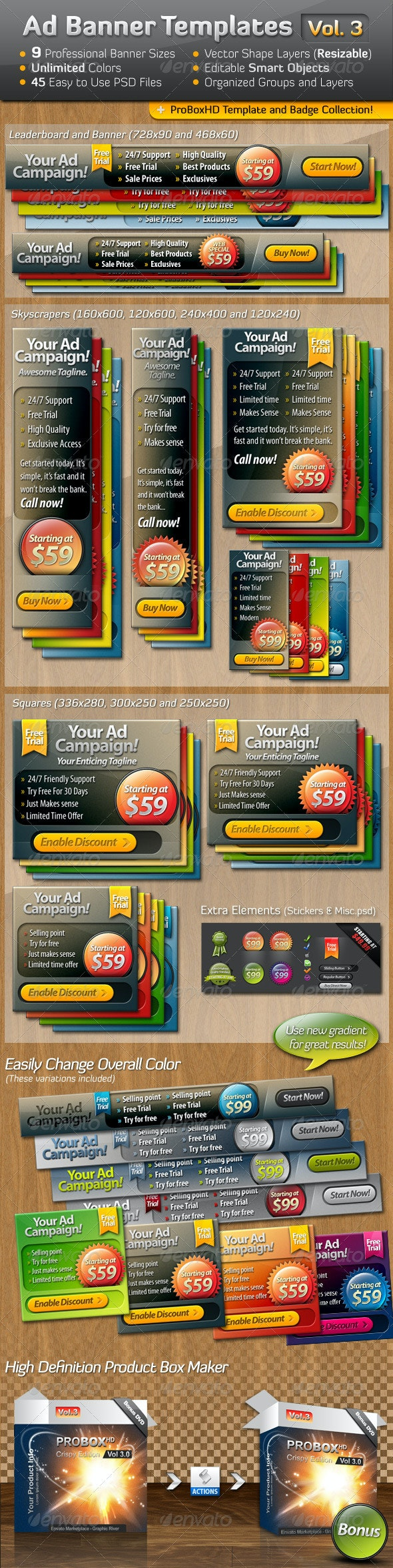 Ad Banner Template Collection Vol. 3 - Banners & Ads Web Elements