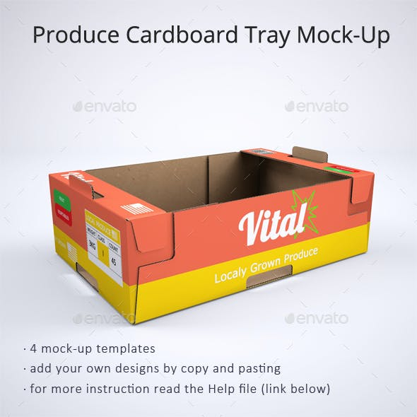 Produce Cardboard Tray or Box Mock-Up