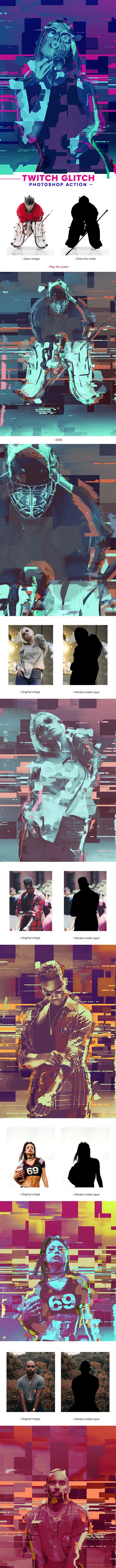 Twitch Glitch Photoshop Action - Photo Effects Actions