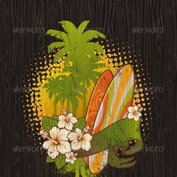 Tropical Surf Emblem Painting on a Wood Board