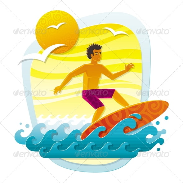 Surfer in Tropical Sea - Sports/Activity Conceptual