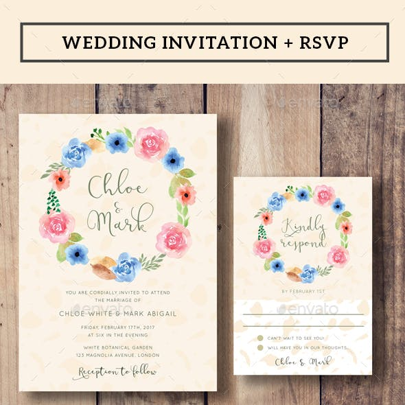Floral Wreath Wedding Invitation + RSVP