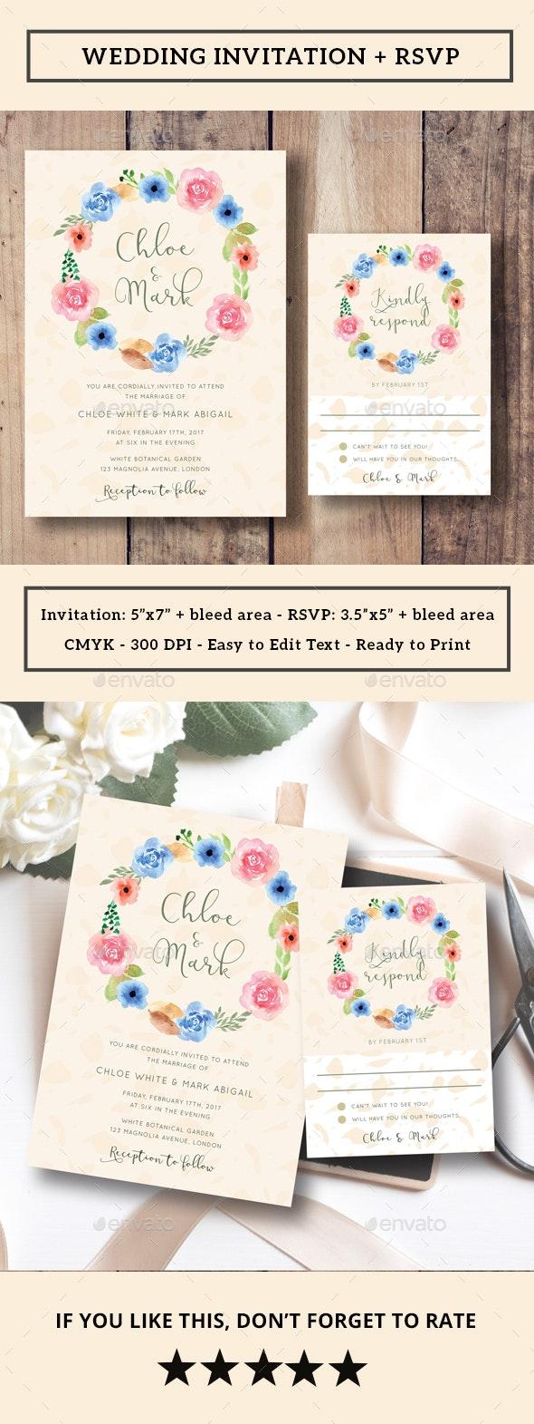 Floral Wreath Wedding Invitation + RSVP - Weddings Cards & Invites