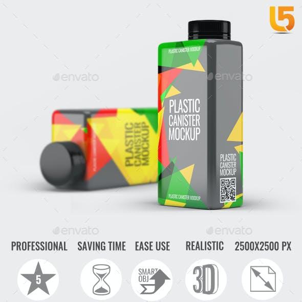 Square Plastic Bottle Mock-Up