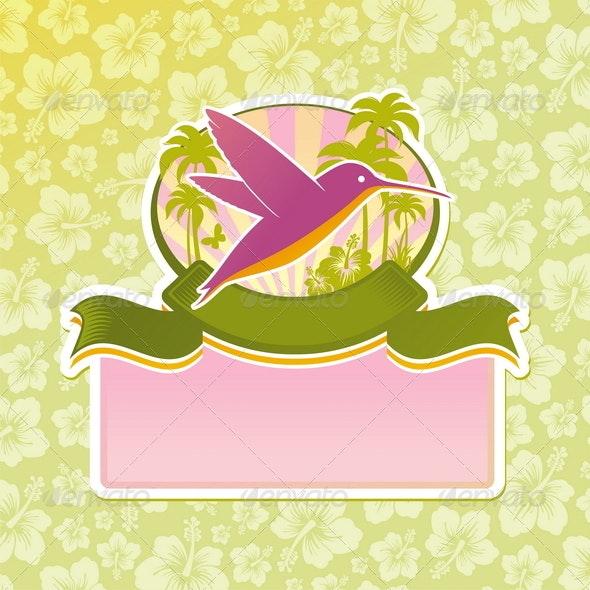 Travel Emblem with Hummingbird - Nature Conceptual