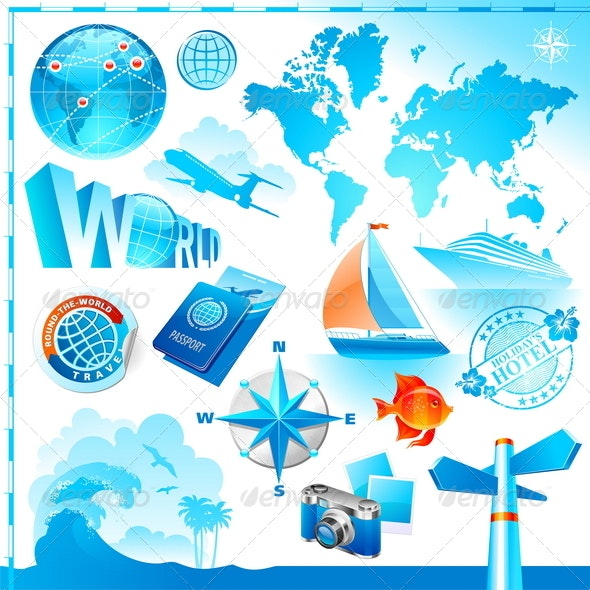 World & Travel Set - Travel Conceptual