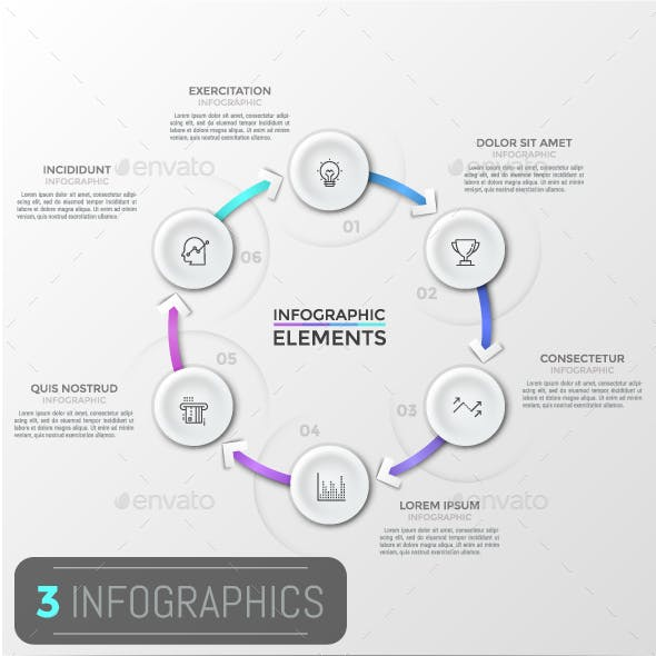 Modern Infographic Cycle Templates (3 Items)