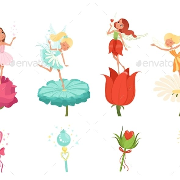 Set of Fairies Hovering Over Flowers
