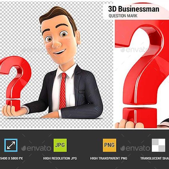 3D Businessman Presenting Question Mark