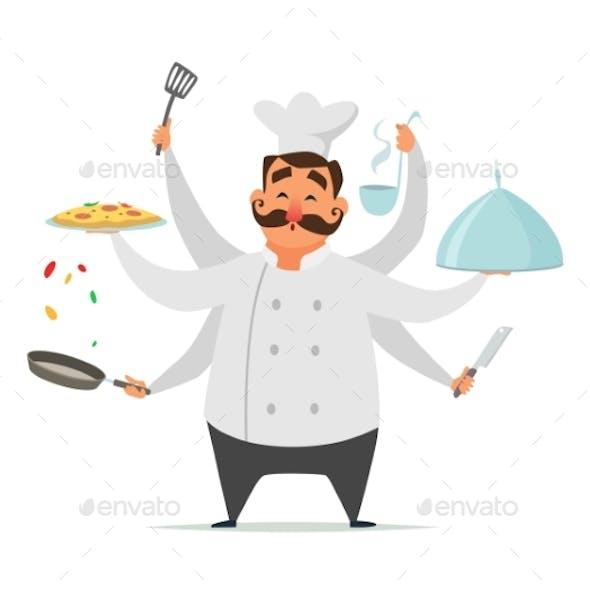 Multitasking Chef Cooking