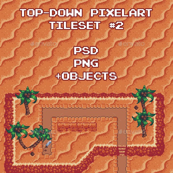 Top-Down Pixel Art Game Tileset #2