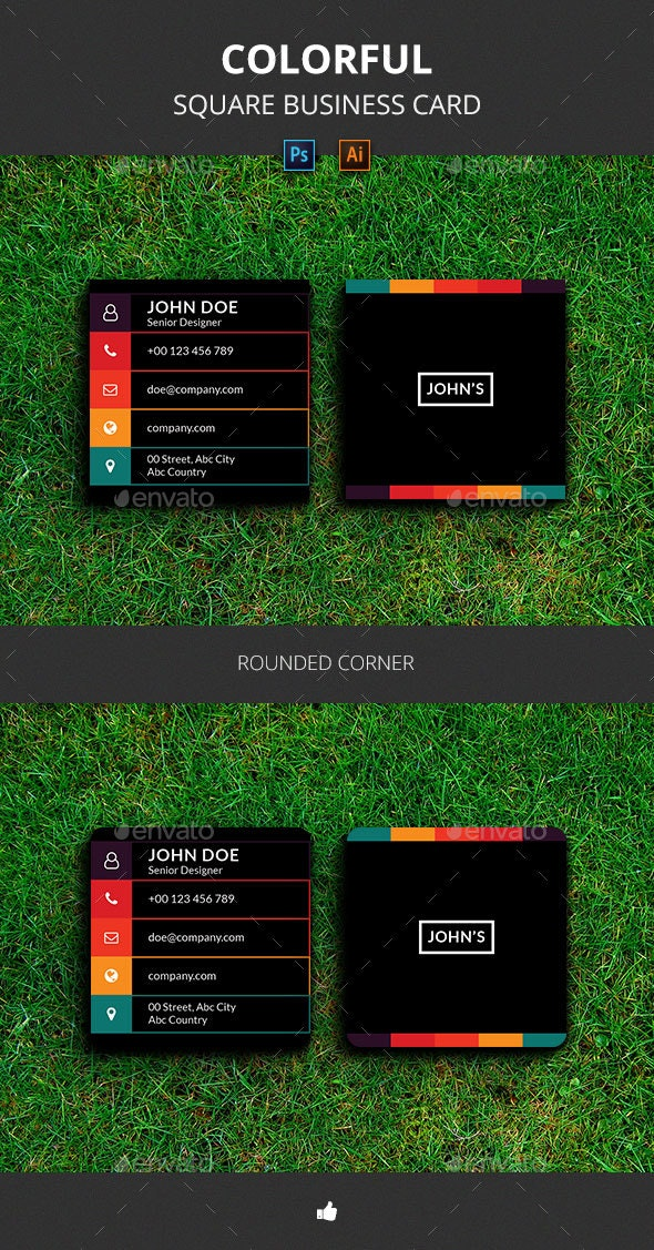 Colorful Square Business Card - Business Cards Print Templates