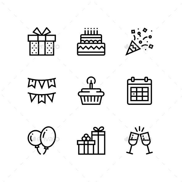 Birthday, Event, Celebration Icons for Web and Mobile Design Pack 1
