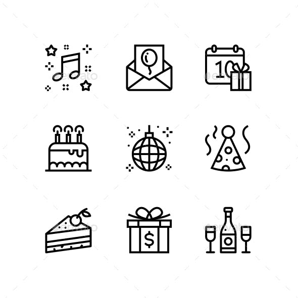 Birthday, Event, Celebration Icons for Web and Mobile Design Pack 3