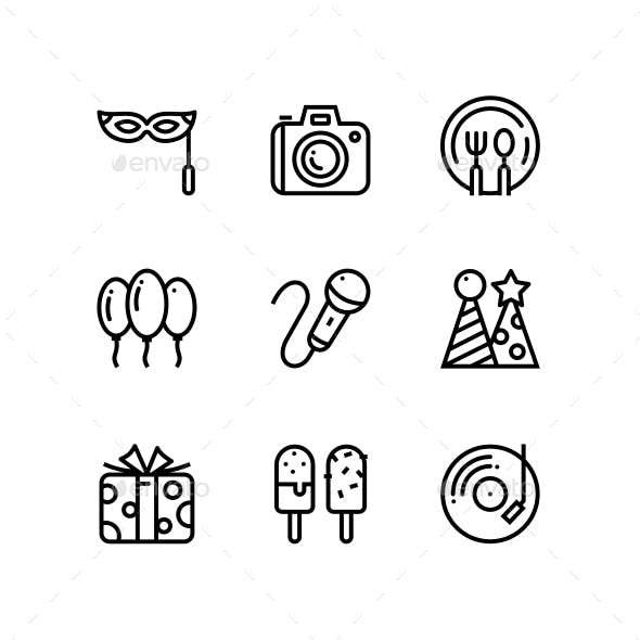 Birthday, Event, Celebration Icons for Web and Mobile Design Pack 4