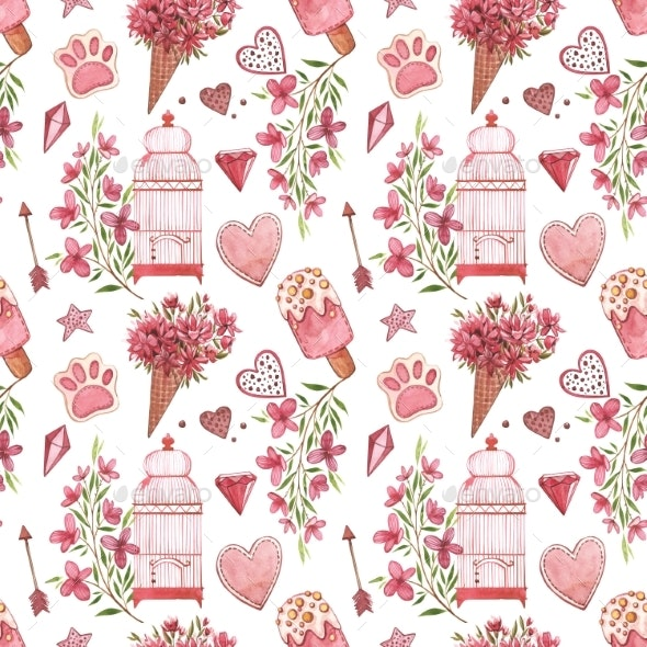 Seamless Patterns with Bird. Pink Watercolor Set