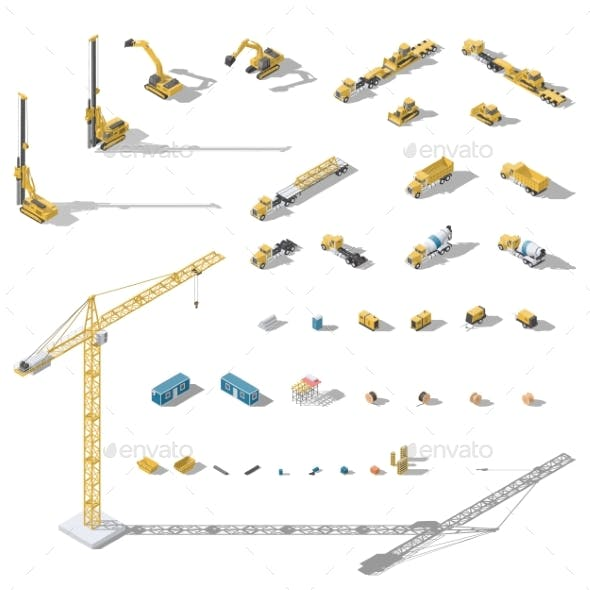 Construction Machinery and Equipment Lowpoly