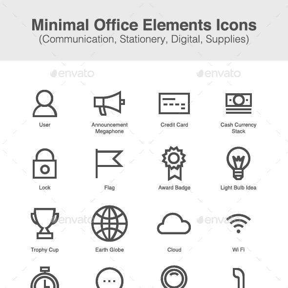 Minimal Office Elements Icons