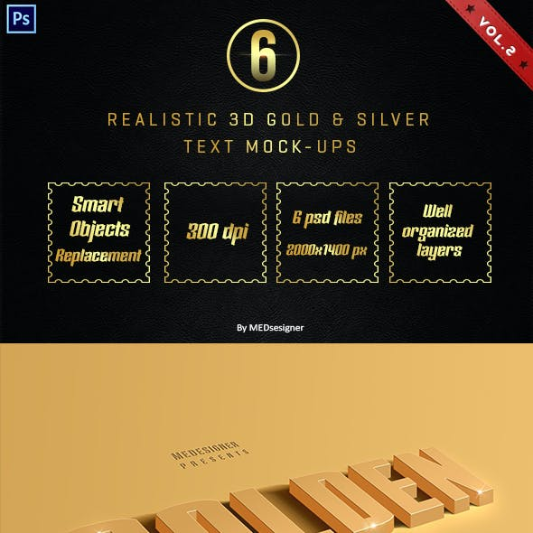 3D Golden & Silver Layer Styles Vol.2