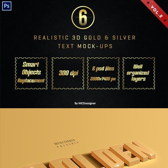 3D Golden & Silver Layer Styles Vol.2