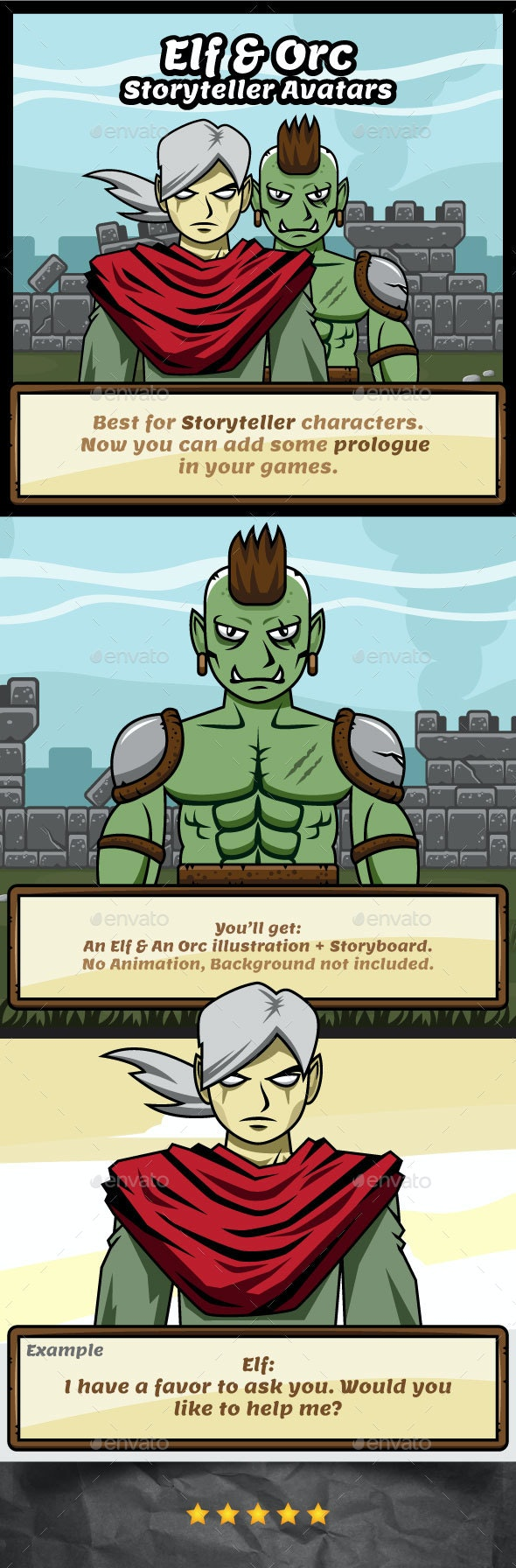 Elf and Orc The Storyteller Avatars for Game Prologue