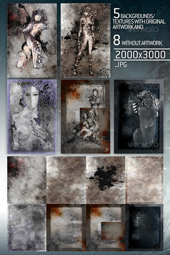 5 art pieces plus 8 textures/backgrounds used - Abstract Backgrounds