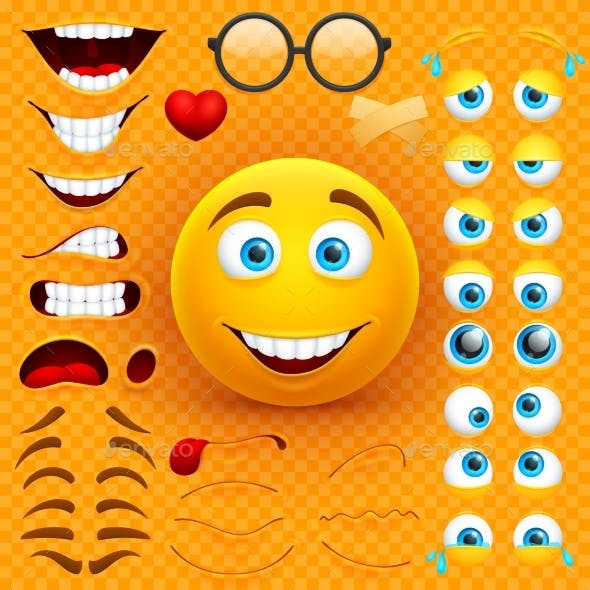 Cartoon Yellow 3d Smiley Face Vector Character