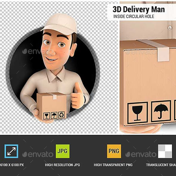 3D Delivery Man with Package and Thumb Up Inside Circular Hole