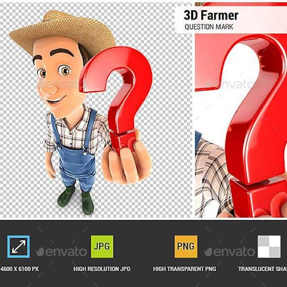 3D Farmer Holding a Question Mark Icon