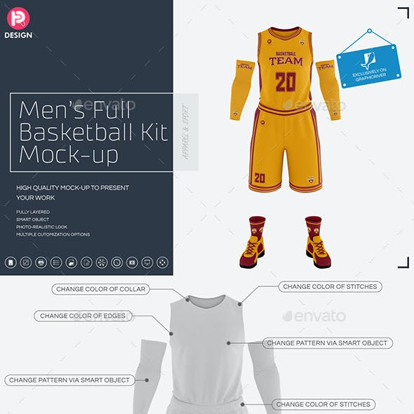 Men's Full Basketball Kit Crew-Neck Jersey Mock-Up