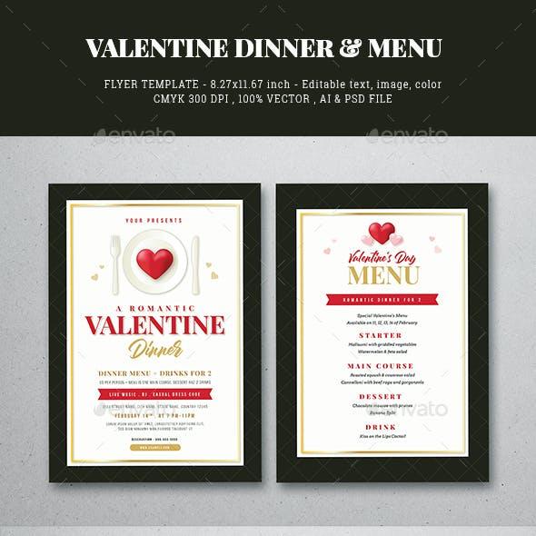 Valentine Dinner Flyer & Menu Template