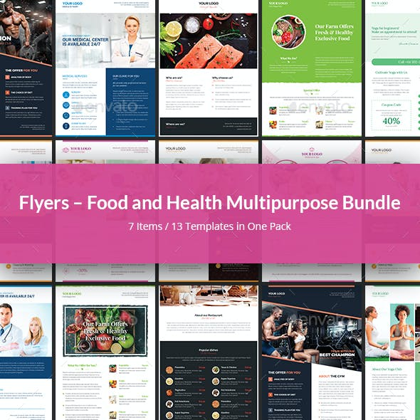 Flyers – Food and Health Multipurpose Bundle 7 in 1