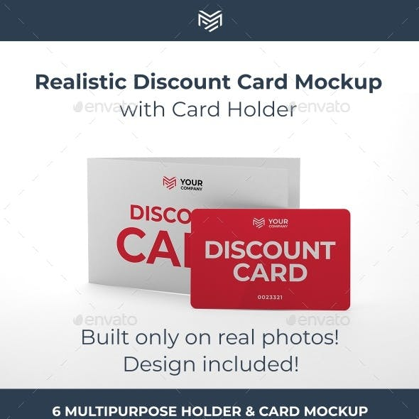 Multipurpose Card Holder & Discount Card Mockup. Built using only professional photos.