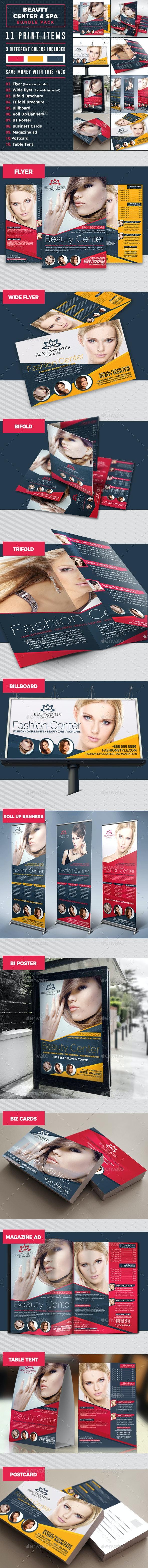 Beauty Center Print Template Bundle - Stationery Print Templates