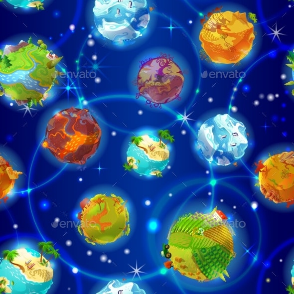 Cartoon Earth Planets Seamless Pattern - Backgrounds Decorative