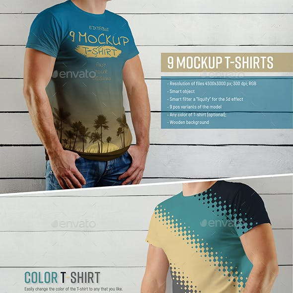 9 Mockup of a White T-Shirt on a Man on a Wooden Background