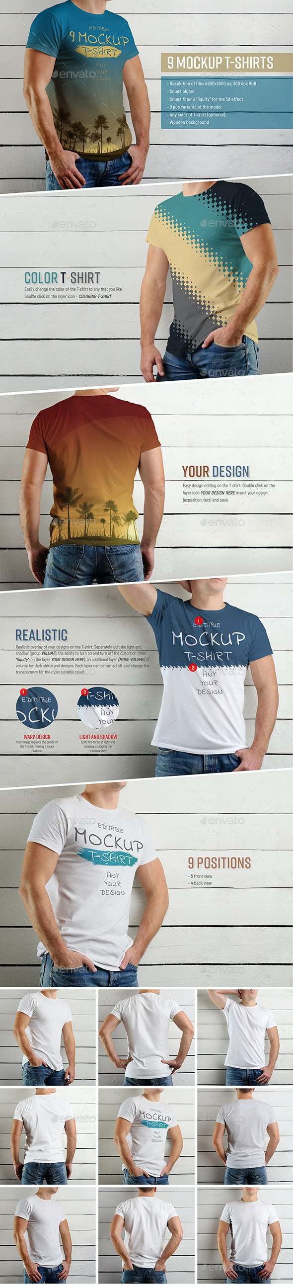 9 Mockup of a White T-Shirt on a Man on a Wooden Background - Product Mock-Ups Graphics