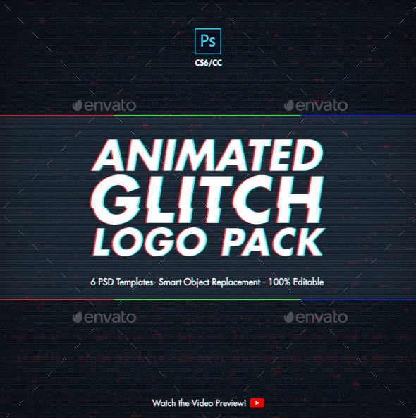 Animated Glitch Logo Pack - Photoshop Templates - Photo Templates Graphics