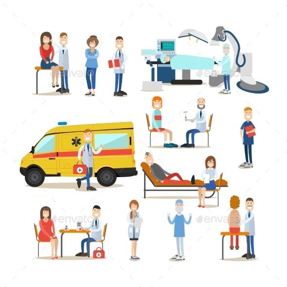 Medical Staff Vector Flat Icon Set - Health/Medicine Conceptual