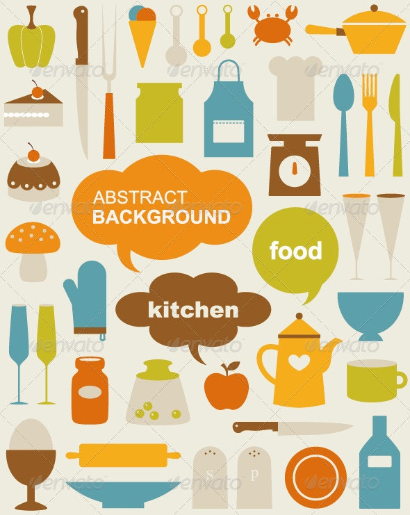 Vector kitchen Icons  - Food Objects