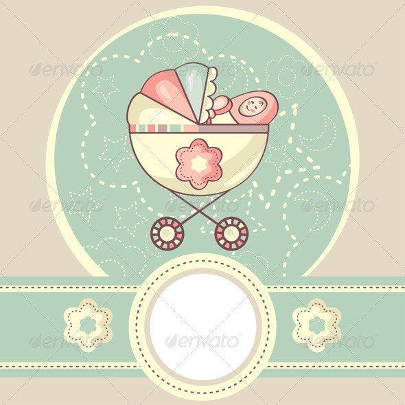 Abstract Baby Card - Borders Decorative