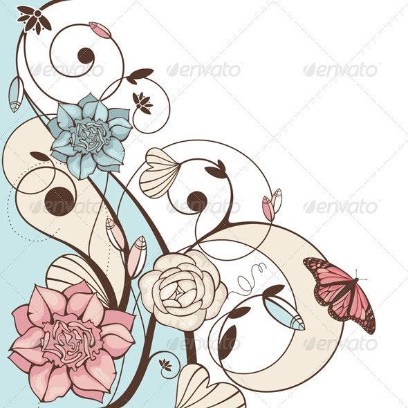 Floral Vector Illustration - Flourishes / Swirls Decorative